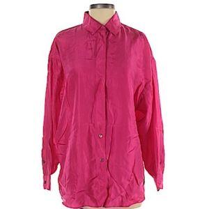 Express hot pink Long Sleeve silk blouse NEW